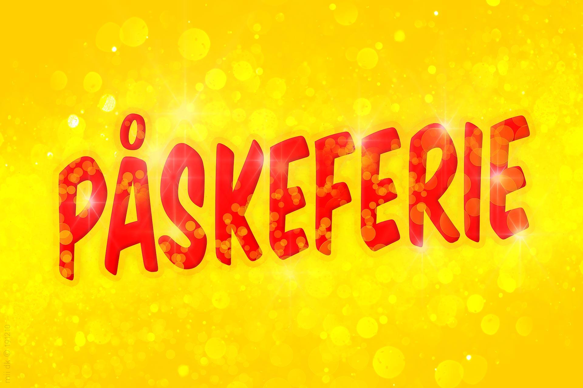 """Rød tekst """"Påskeferie"""" på boblende gul baggrundillustration. Perfekt til brug på websteder, Facebook eller butiksdøren."""